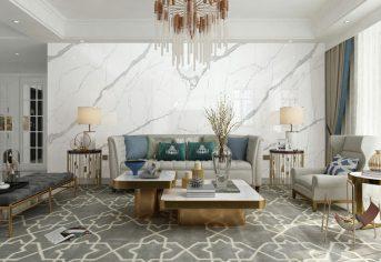 卡拉拉白大岩板【826919】Carrara White无限连纹岩板